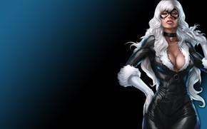 Picture Beautiful, Sexy, Art, Blue, Black, White, Marvel, Woman, Comics, Suit, Black cat, Mask, Pose, Lipstick, …