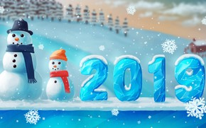 Picture figures, snowmen, snowman, ice, house, new year, hat, winter, snow, tree, cute, number, snowflake, scarf, …