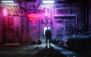 Picture Auto, Night, The city, People, Machine, Style, Render, Style, Neon, Illustration, Synth, Signs, Retrowave, Synthwave, …