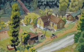 Picture 1916, Charles Ephraim Burchfield, Valley Road with House