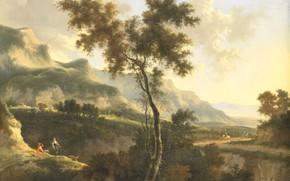 Picture oil, picture, canvas, Mountain Landscape, 1685, Yan Gokart, Jan Hackaert
