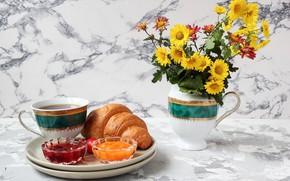 Picture flowers, coffee, bouquet, croissant