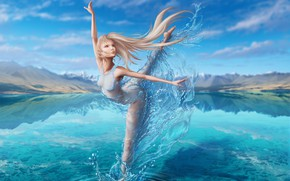 Picture the sky, water, girl, lake, magic