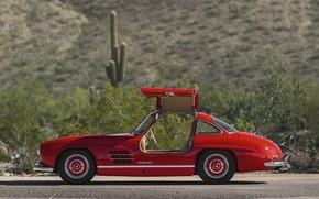 Picture Red, Classic, Sportcar, Mercedes Benz 300SL
