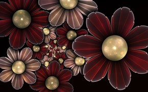 Picture Flowers, Red, Beads