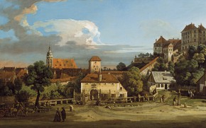 Picture people, the building, picture, Church, Germany painting, Pirna Trees village, Немецкая живопись, деревня Пирна