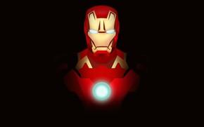 Picture red, fiction, art, costume, black background, Iron man, Iron Man, comic, MARVEL, Tony Stark