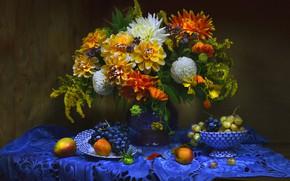 Wallpaper bouquet, grapes, fruit, still life, napkin, dahlias