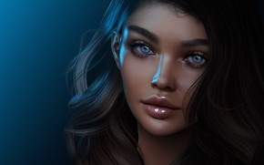 Picture eyes, girl, face, rendering, hair, lips, cutie