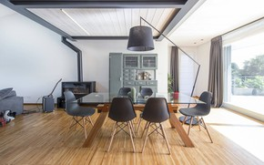 Picture style, interior, fireplace, dining room, Loft in Italy