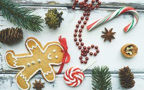 Picture spruce, New year, Lollipop, gingerbread