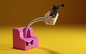 Picture Gun, Humor, Evil, Gun, Box, Revolver, Revolver, Box, Funny, Angry, Humor, The trick, Surprise attack, …