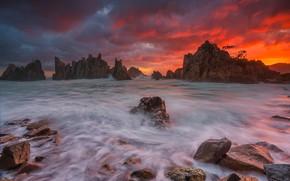 Picture sea, rocks, glow