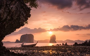 Picture clouds, sunset, rocks, coast, boat, Thailand