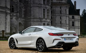 Picture white, coupe, BMW, 2018, 8-Series, Eight, G15, 840d xDrive M Sport, at the Palace