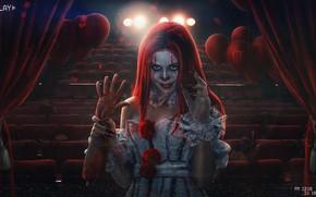 Picture Girl, Doll, Face, Blood, Girl, Darkness, Horror, Evil, Horror, Evil, Illustration, Concept Art, Face, Pennywise, …