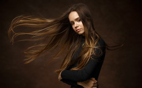 Picture look, girl, face, pose, background, portrait, long hair, Ivan Kovalev, Лиза Меладзе