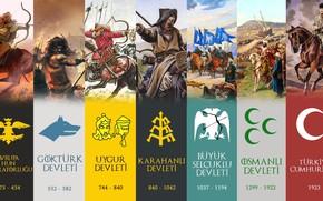 Picture Ottoman Empire, Republic of Turkey, Göktürks, Turkish states in history