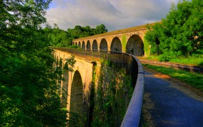 Wallpaper greens, the sun, trees, bridge, England, structure, Shropshire, Chirk Bank