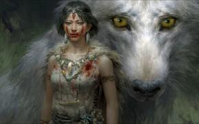 Picture Fantasy, Art, wolf, Princess Mononoke, hunting, other