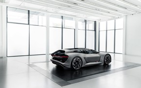 Picture grey, Audi, side view, the room, 2018, PB18 e-tron Concept