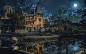 Wallpaper water, trees, night, the city, house, the moon, fountain, mansion, Crimea, Palace, Yalta, Massandra
