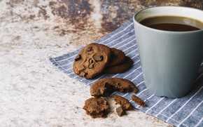 Picture coffee, chocolate, cookies, coffee, cookies