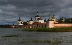 Picture grass, landscape, clouds, the city, lake, temple, the monastery, dome, Kirillov, Maxim Evdokimov, Siverskiy, Kirillo-Belozersky …