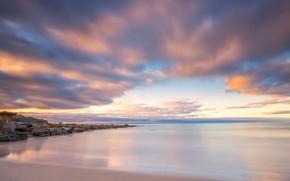 Picture sea, beach, the sky, landscape, nature, stones, blue, shore, horizon, Norway, space, surf, structure, pond, …