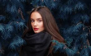 Picture look, girl, branches, makeup, brunette, Максим Емельянов