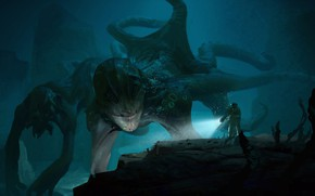 Picture monster, the diver, octopus, the depths of the sea