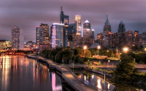 Wallpaper night, lights, Philadelphia, Schuylkill