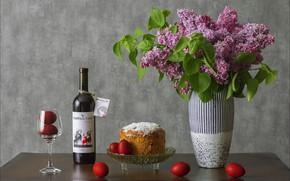 Picture flowers, wine, glass, eggs, Easter, cake, lilac, Easter