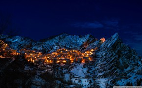 Picture winter, lights, building, home, Mountain, slope, top