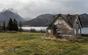 Picture mountains, lake, Norway, house