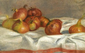 Picture food, picture, vegetables, 1912, Pierre Auguste Renoir, Pierre Auguste Renoir, Still life with Onions and …