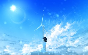 Picture summer, the sky, the sun, windmill, girl, happy