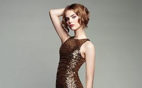 Picture look, background, model, portrait, makeup, figure, dress, hairstyle, brown hair, beauty, is, posing, Oleg Gekman