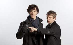 Picture white background, Sherlock Holmes, smartphone, Martin Freeman, Benedict Cumberbatch, Sherlock, Sherlock BBC, Sherlock Holmes, partners, …