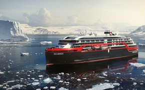 Picture Winter, The ocean, Sea, Liner, Ice, The ship, Technique, Arctic, Rendering, Passenger ship, Ship, Vessel, …