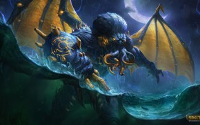 Picture sea, water, the demon, Cthulhu, Smite