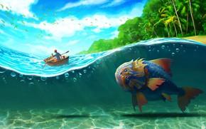 Picture sea, wave, palm trees, island, fish, art, Big Fish, Jeremy Bennison