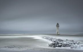 Picture sea, lighthouse, England, United Kingdom, Wirral Metropolitan Borough