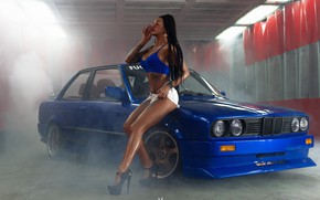 Picture machine, auto, girl, pose, feet, shorts, BMW, figure, shoes, heels, braids, top, Alex Bazilev