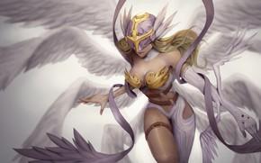 Picture girl, fantasy, cleavage, breast, wings, Angel, blonde, digital art, artwork, fantasy art, chest, pearls