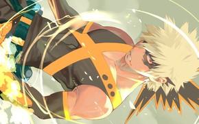 Picture flame, guy, Boku no Hero Academy, My hero Academy, Bakusou Katsuki, Bakugou Katsuki