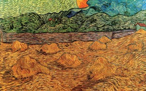 Picture the sun, hay, Vincent van Gogh, Evening Landscape, with Rising Moon