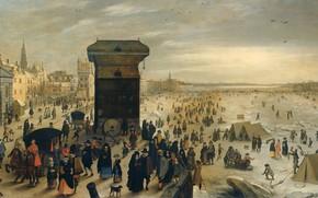 Picture oil, picture, Sebastian Vranx, 1622, Sebastiaan Vrancx, Замёрзшая река Шельда в Антверпене