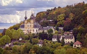 Picture trees, landscape, nature, the city, home, Germany, hill, Church, temple, dome, Würzburg