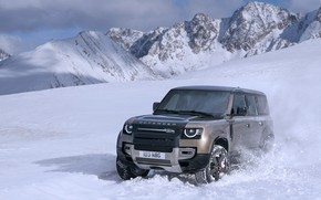 Picture winter, mountains, Land Rover, Defender